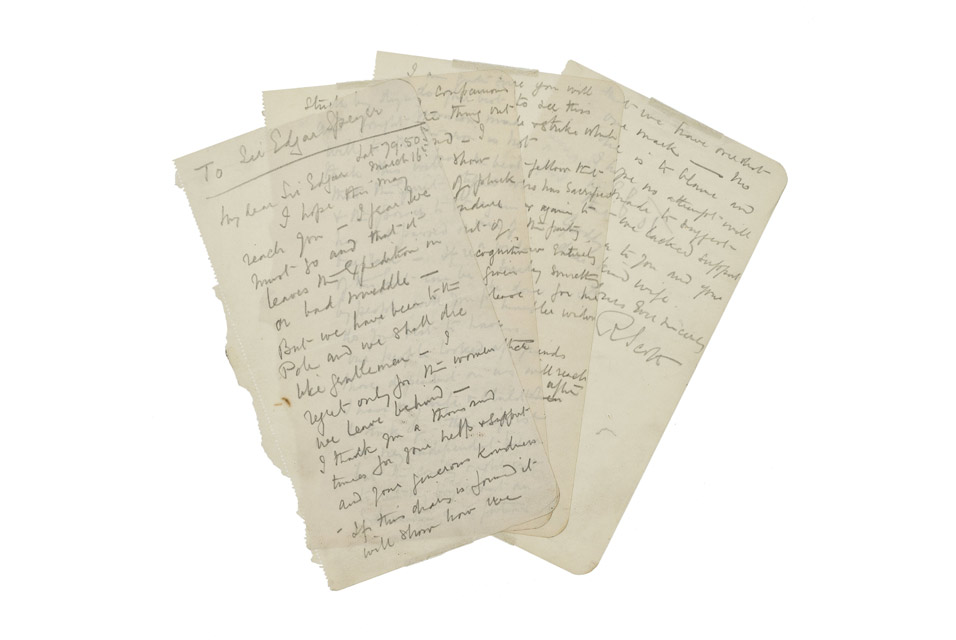 The letter, which was found on Scott's body in November 1912, was written on the 16th March of that year to financier Sir Edgar Speyer. Estimate: £100,000-150,000. Photo: Bonhams