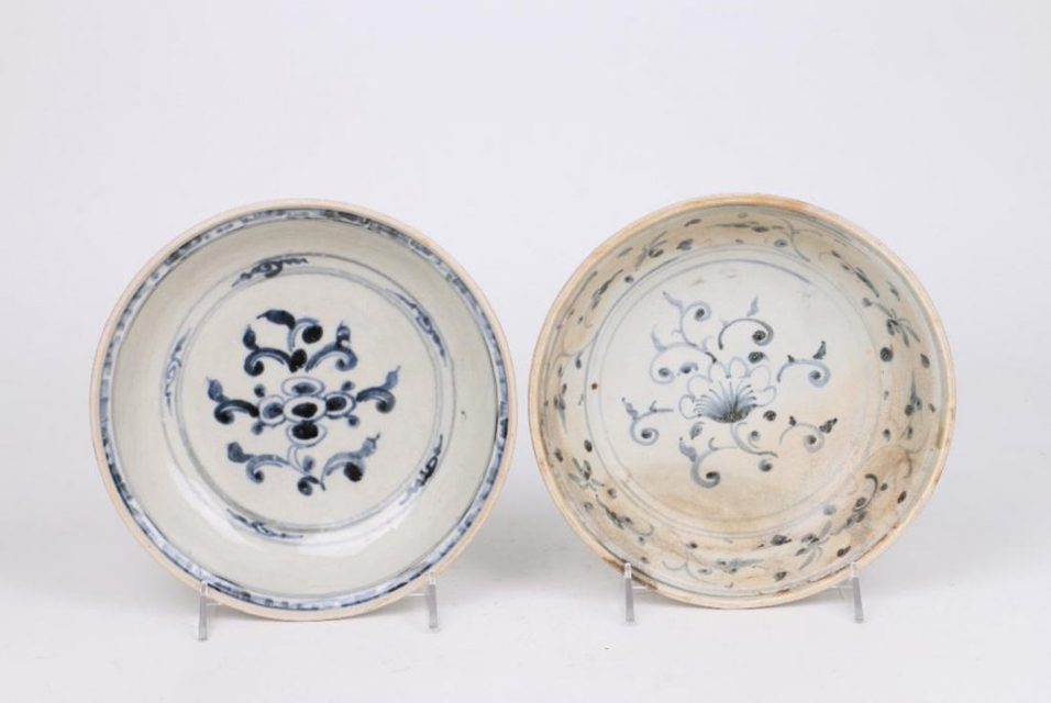 Two 15th/16th Century Asian Blue and White Serving Dishes, Vietnam. Estimate: $200-400