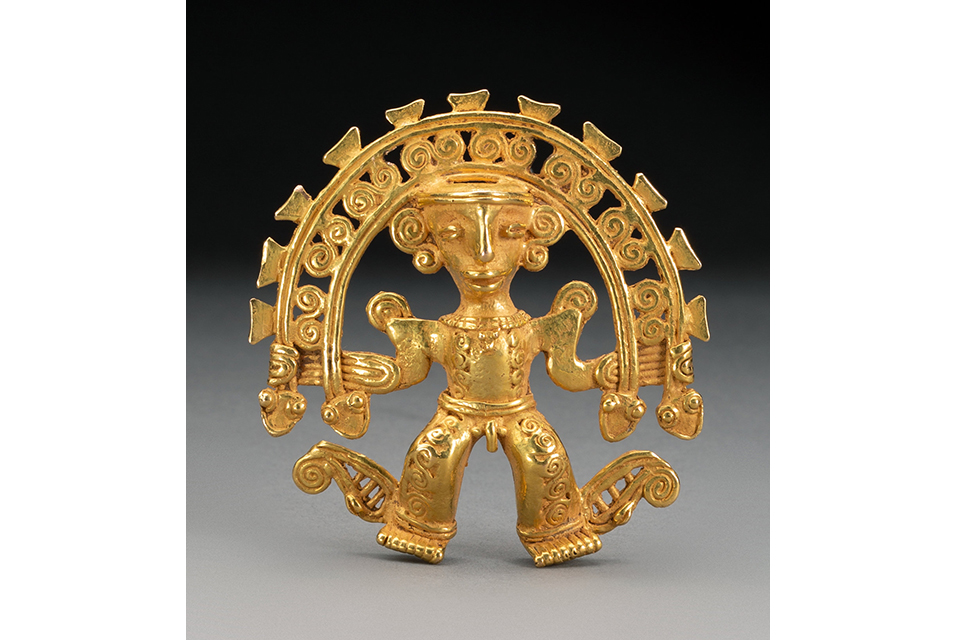 A Superb Diquis Gold Pendant, c. 700-1400 AD. Height: 2 ½ inches.
