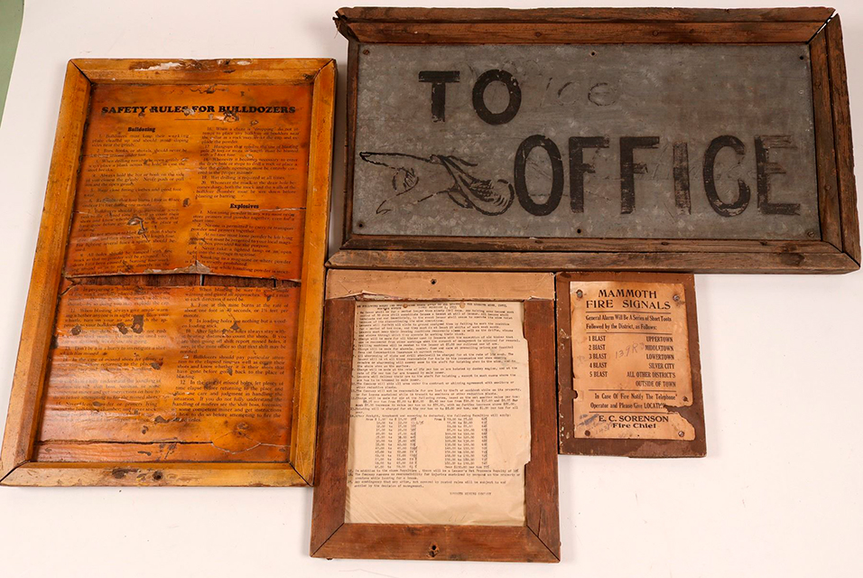 Four framed signs from the Mammoth Mine in Utah, dating from around 1910 to the Great Depression era (est. $500-$1,000).