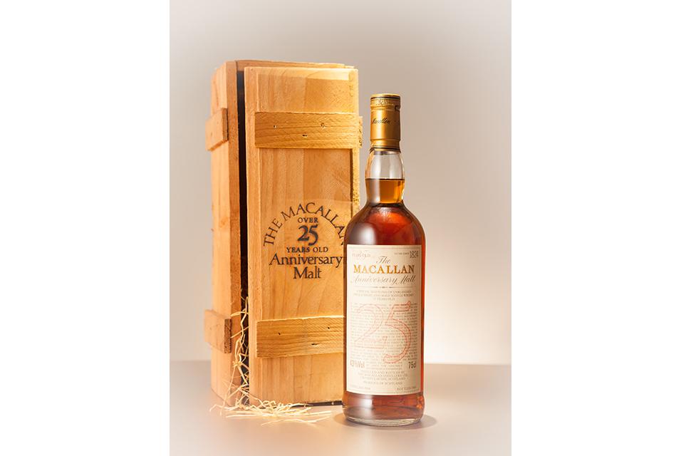 The Macallan Anniversary Malt 25-Year-Old. 1 bottle per lot, HK$45,000 – 65,000/ US$5,500 – 8,000.