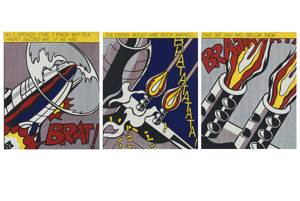 Roy Lichtenstein, As I Opened Fire (triptych), circa 1966. Color lithograph. Estimate $300-500.
